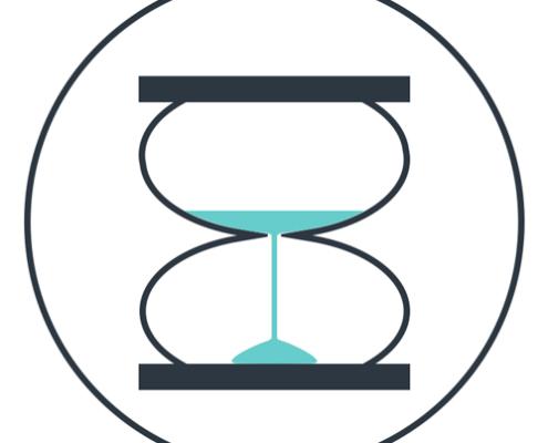 Sanduhr zur Darstellung der kurzen Wartezeiten in der Münchner Zahnpraxis